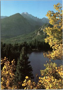 postcard CO Rocky Mountain National Park ALongs Peak above Bear Lake