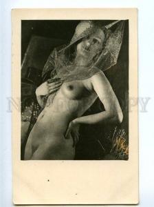 128946 NUDE Woman ART NOUVEAU HAT Vintage PHOTO PC