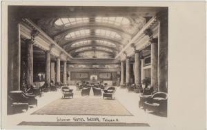Ohio Real Photo RPPC Postcard c1910 TOLEDO Hotel SECOR Inteior LOBBY