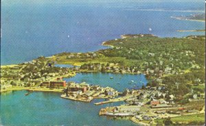 Cape Cod MA - AIR VIEW of the harbor at Woods Hole, 1950s