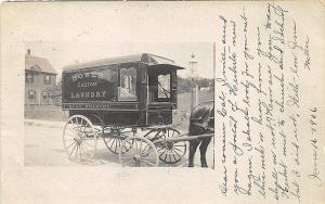 West Roxbury MA Laundry Horse & Wagon in 1906 RPPC Postcard