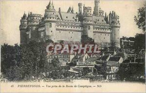 Old Postcard Pierrefonds View from Route Compiegne