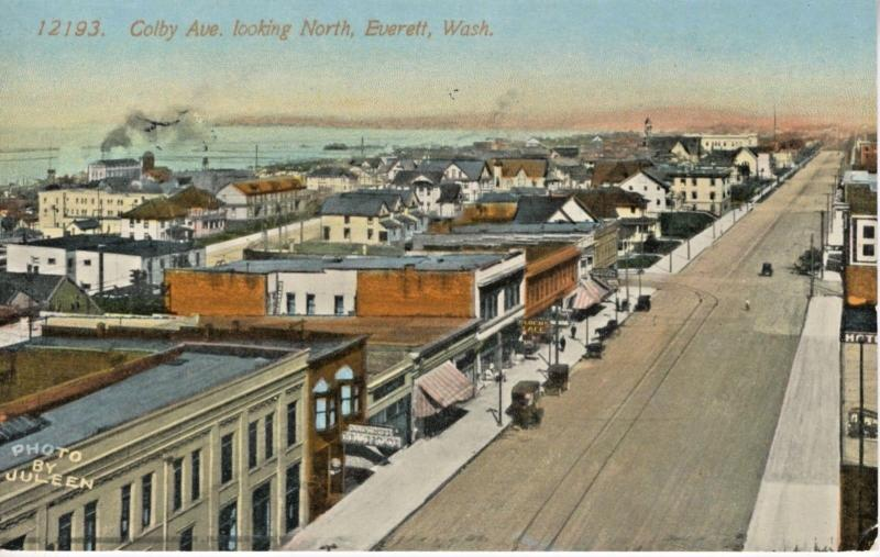 Everett WA Wash. Colby Ave Looking North c1916 Juleen Vintage Postcard E8
