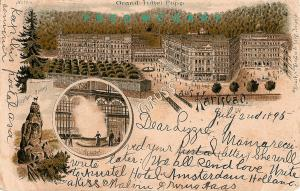 1895 Karlsbad Czechoslovakia Gruss Aus PC: Grand Hotel Pupp & Hirschen-Sprung