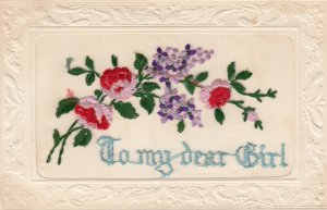 EMBROIDERED, 1900-10s; To my dear Girl, Lilacs and pink flowers