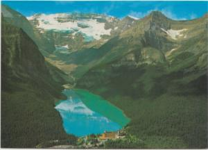 Canadian Rockies, Aerial view of Lake Louise Victoria Glacier, 1988 used card