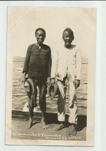 Real Photo Postcard ~ US Navy~ SHIPWRECKED Chinamen Rescued by Sailors ~ 1908