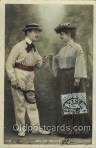 Tennis 1906 light corner wear, postal used 1906, yellowing on back from age
