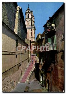 Modern Postcard The French Riviera Menton Old Town picturesque streets L'Egli...