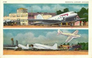 Airplanes Chicago Illinois #269 1940s Municipal Airport Postcard 20-8140