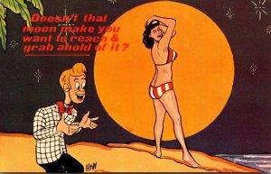 Humour Sexy Girl Wearing Bikini With Full Moon