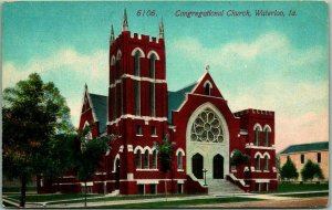 1910s Waterloo, Iowa Postcard CONGREGATIONAL CHURCH Street View Acmegraph Unused