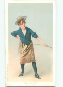 Pre-Linen Slight Risque Interest SEXY COWGIRL IN THE OLD WEST - WESTERN AB7916