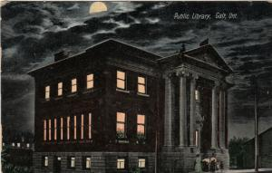 GALT , Ontario , Canada ,1911 , Public Library , at night