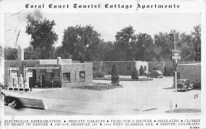 Denver Coral Court Tourist Cottage Apts~1100 W Alameda~Conoco Gas Station 1940s