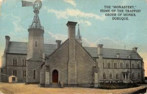Dubuque Iowa~The Monastery~Close Up Trappist Monks Home~Windmill~1915 Postcard