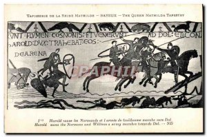 Old Postcard Mathilde Bayeux Tapestry of Queen Harold saves the Normans of Wi...