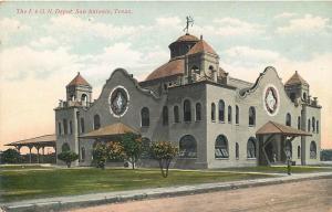 SAN ANTONIO, Texas  TX   The I. G. & N. RAILROAD DEPOT  ca 1910s   Postcard