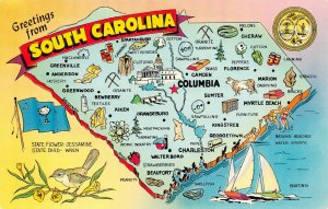 LPM36 South Carolina Map Chrome Postcard Palmetto State