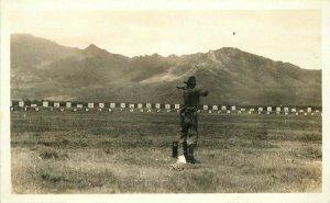 Parade Range Military Soldier Target RPPC Photo Postcard 20-1123