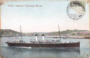 Steamship , P.S. QUEEN leaving Dover  , PU-1910