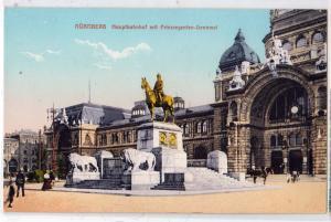 Nurnberg, Hauptbahnhof mit Prinzregentn-Denkmal