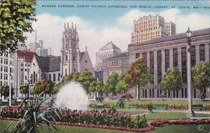 Missouri Saint Louis Sunken Gardens Christ Church Cathedral And Public Library