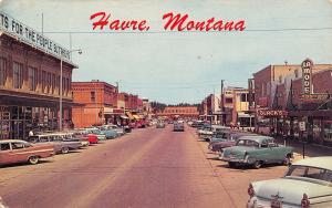 Havre Montana~3rd Avenue~Buttrey's Grocery Store~Black's~La Mode~Nice 1950s Cars