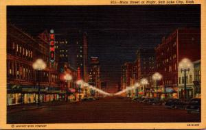 Utah Salt Lake City Main Street At Night 1954 Curteich