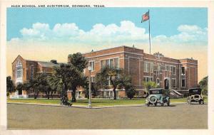 Texas Tx Postcard c1910 EDINBURG Hidalgo County HIGH SCHOOL and AUDITORIUM