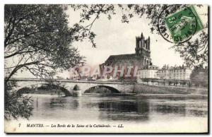 Old Postcard Mantes The Banks Of The Seine And The Cathedral