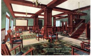 THE LOBBY, DAKOTA HOTEL, HUNTER HOT SPRINGS, MONTANA.