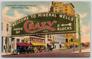 Mineral Wells Texas~Bankhead Highway CRAZY Neon Welcome~JC Penney~1940 Linen