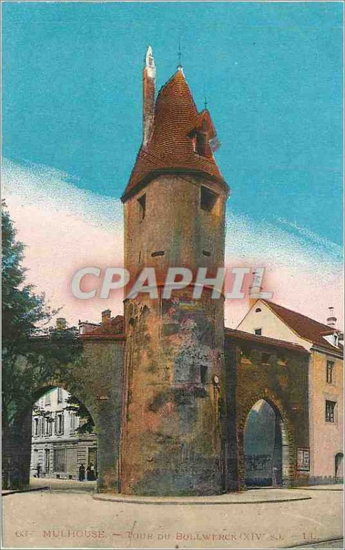 Old Postcard Mulhouse tower bollwerck (XIV)