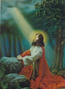 3-D, Jesus Christ kneeling looking to heaven. Light beam shining face, 1950-70s