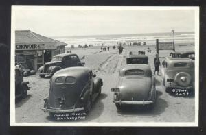 RPPC COPALIS BEACH WASHINGTON 1930's CARS SWIMMING REAL PHOTO POSTCARD