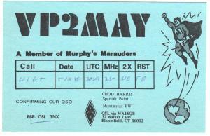 QSL, VP2MAY, Montserrat, BWI, Murphy's Marauders, 1978