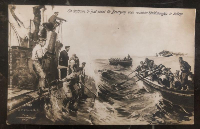 Mint Germany PPC U Boat Picture Postcard Submarine Takes The Crew Of Steamer