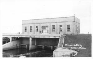 Allegan Michigan~Municipal Dam on Kalamazoo River~Allegan County~1940s RPPC