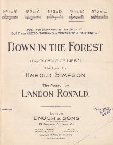 Down In The Forest from A Cycle Of Life Landon Ronald Signed Classical Sheet ...