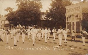 E68/ St Marys West Virginia RPPC Postcard 1909 Band Parade McMahon Shoe Store
