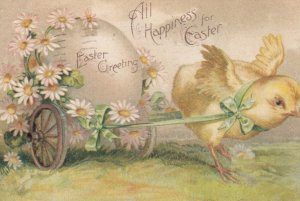EASTER , 1908 ; Chick pulling an egg cart