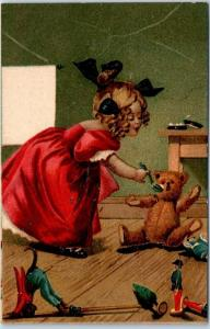Artist-Signed M. GREINER Postcard Molly Feeding Teddy Bear / Toys c1900s