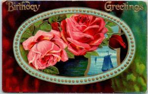 Vintage Embossed Greetings Postcard Birthday Greetings Pink Roses 1916 Cancel