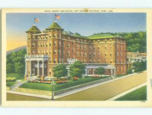 Unused Linen MOODY HOTEL Hot Springs National Park Arkansas AR hr7771