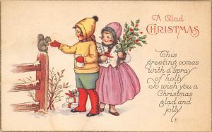 Christmas Post Card Old Vintage Antique Xmas Postcard Stamp is missing, posta...