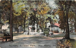 F73/ New Albany Indiana Postcard c1910 Scribner Park Fountain