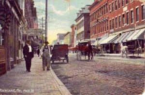 ROCKLAND, ME MAIN STREET horse-drawn wagons 1910