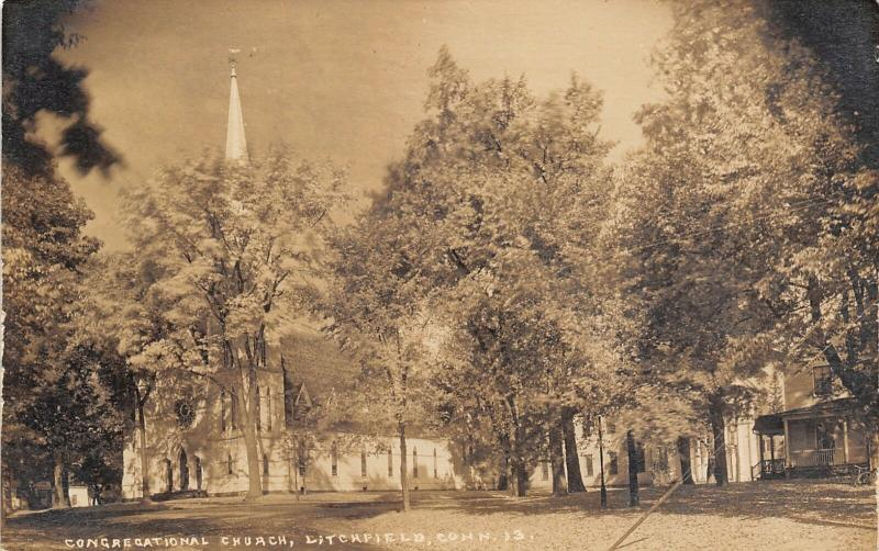 Litchfield Connecticut~Congregational Church~Homes in Trees~c1915 RPPC