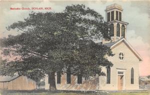 Duplain Michigan~Methodist Church~Shed in Background~c1910 Postcard